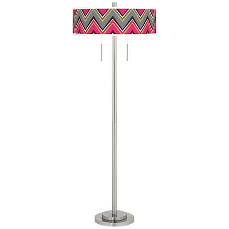 Chevron Pride Pink Taft Giclee Brushed Nickel Floor Lamp