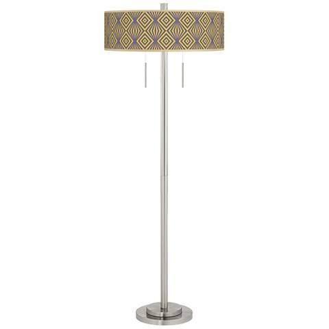Deco Revival Taft Giclee Brushed Nickel Floor Lamp