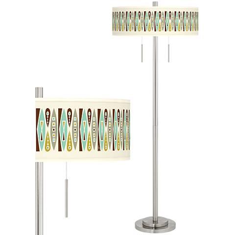 Vernaculis II Taft Giclee Brushed Nickel Floor Lamp