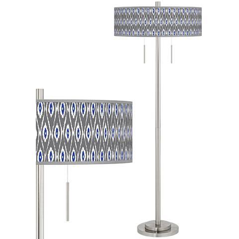 American Ikat Taft Giclee Brushed Nickel Floor Lamp