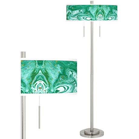 Malachite Taft Giclee Brushed Nickel Floor Lamp