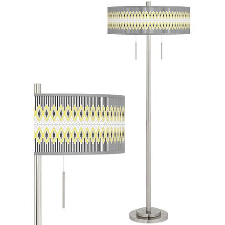 Desert Geometric Taft Giclee Brushed Nickel Floor Lamp