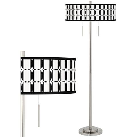Tribal Weave Taft Giclee Brushed Nickel Floor Lamp
