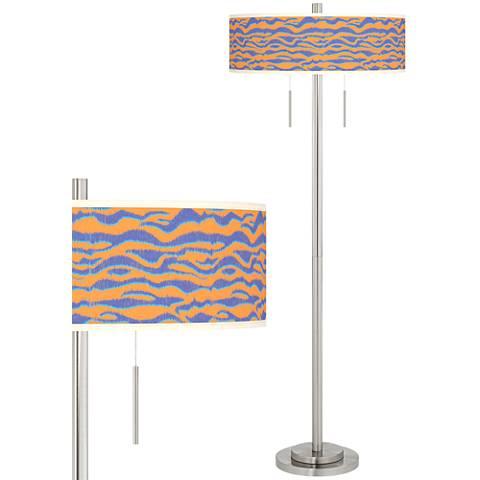 Sunset Stripes Taft Giclee Brushed Nickel Floor Lamp