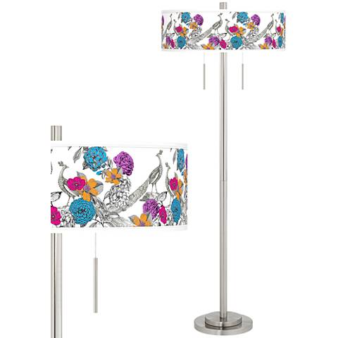 Peacocks in the Garden Taft Giclee Brushed Nickel Floor Lamp