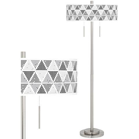 Pointillism Taft Giclee Brushed Nickel Floor Lamp