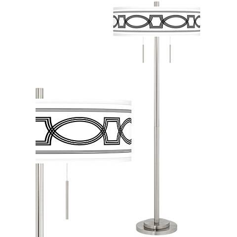 Concave Taft Giclee Brushed Nickel Floor Lamp