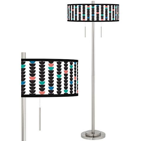 Semi-Dots Taft Giclee Brushed Nickel Floor Lamp