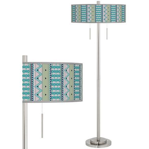 Geo Metrix Taft Giclee Brushed Nickel Floor Lamp