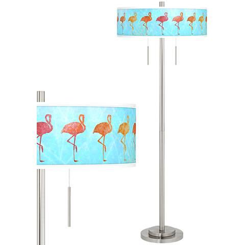 Flamingo Shade Taft Giclee Brushed Nickel Floor Lamp