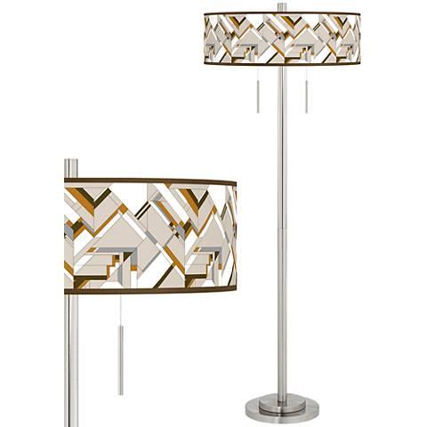 Craftsman Mosaic Taft Giclee Brushed Nickel Floor Lamp