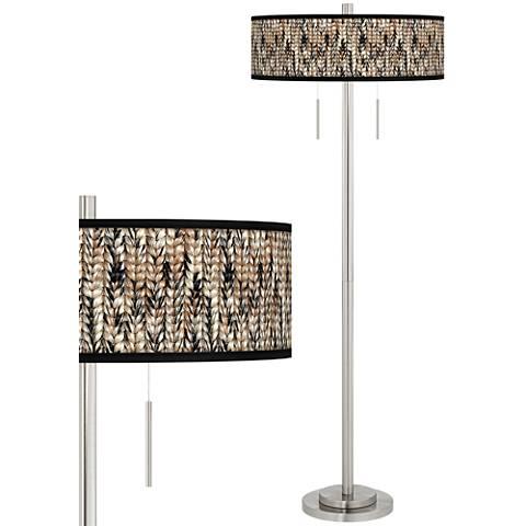 Braided Jute Taft Giclee Brushed Nickel Floor Lamp