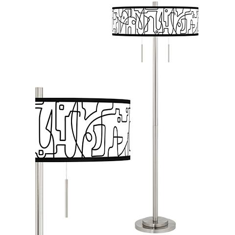 Scribble World Taft Giclee Brushed Nickel Floor Lamp