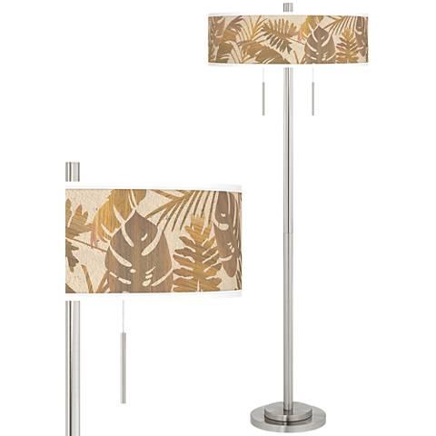 Tropical Woodwork Taft Giclee Brushed Nickel Floor Lamp