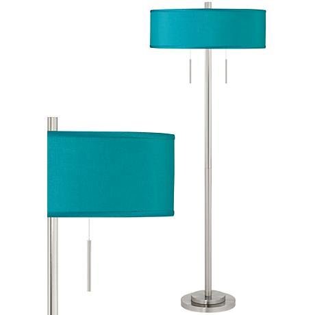 Teal Blue Faux Silk Taft Brushed Nickel Floor Lamp