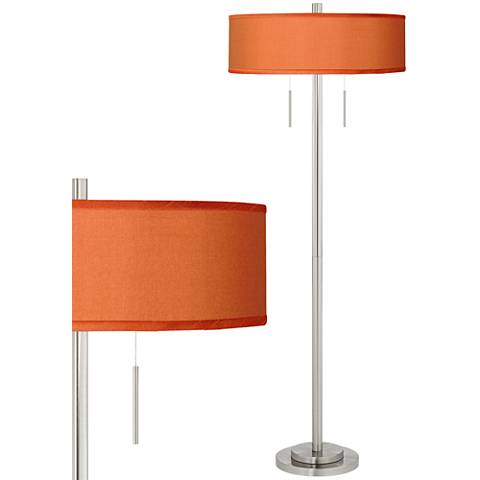 Orange Faux Silk Taft Brushed Nickel Floor Lamp