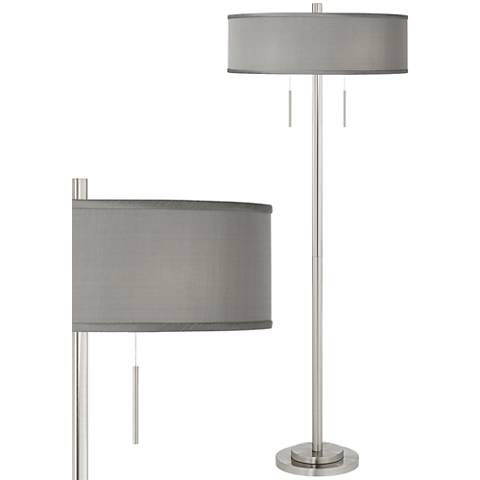 Gray Faux Silk Taft Brushed Nickel Floor Lamp