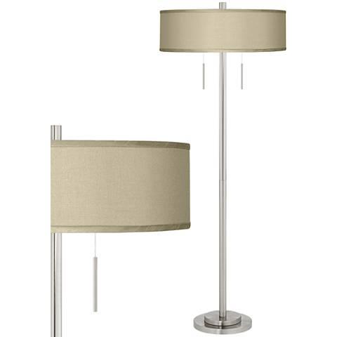 Sesame Faux Silk Taft Brushed Nickel Floor Lamp