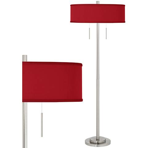 China Red Textured Silk Taft Brushed Nickel Floor Lamp