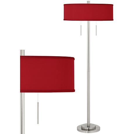 China Red Textured Silk Taft Brushed Nickel Floor Lamp