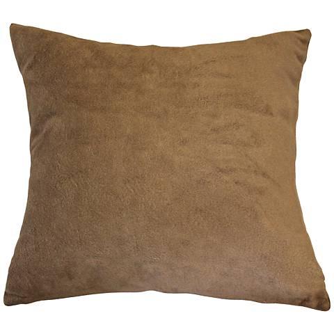 "Lichen Brown Bamboo Velvet 24"" Square Throw Pillow"