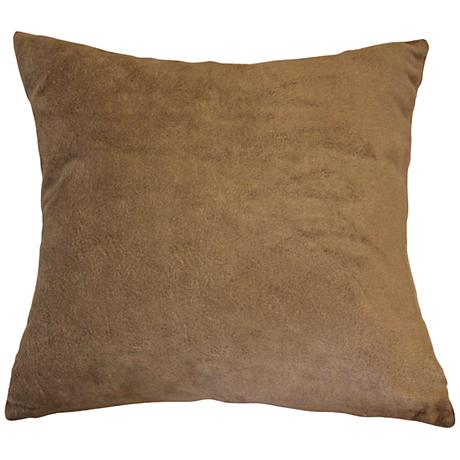 "Lichen Brown Bamboo Velvet 24"" Square Throw Pillow"