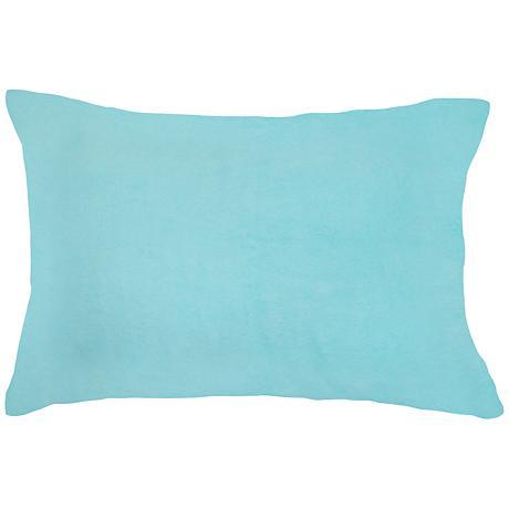 """Aqua Blue Bamboo Velvet 14""""x20"""" Lumbar Throw Pillow"""