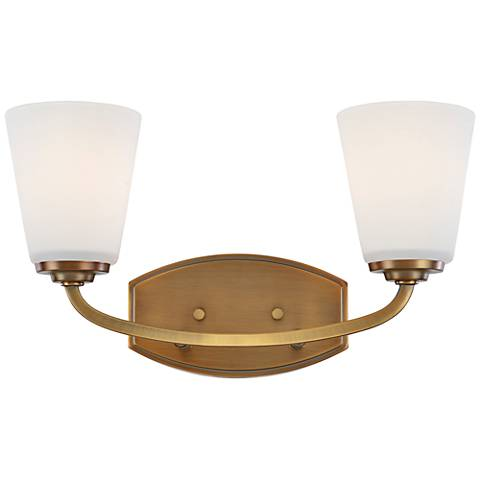 "Artcraft Hudson 8 1/2""H Vintage Brass 2-Light Wall Sconce"