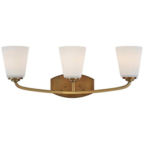 "Artcraft Hudson 23 3/4""W Vintage Brass 3-Light Bath Light"