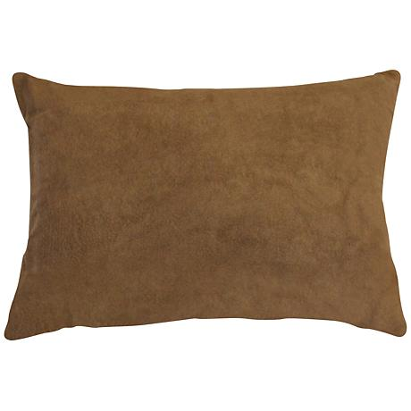"Lichen Brown Bamboo Velvet 14""x20"" Lumbar Throw Pillow"