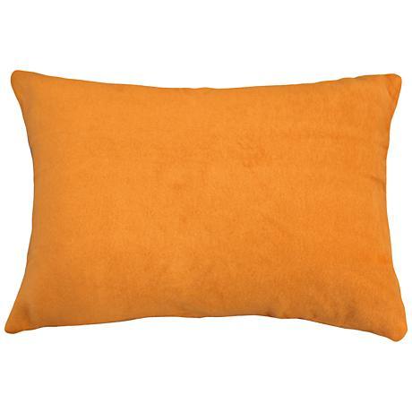 "Pumpkin Orange Bamboo Velvet 14""x20"" Lumbar Throw Pillow"