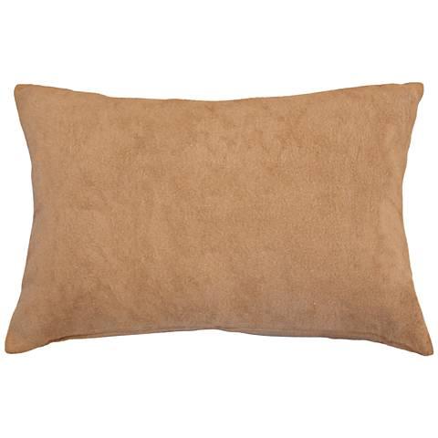 """Natural Sand Bamboo Velvet 14""""x20"""" Lumbar Throw Pillow"""