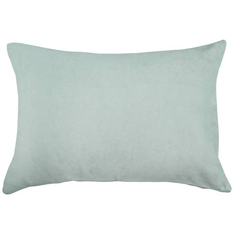 "Spa Blue Bamboo Velvet 14""x20"" Lumbar Throw Pillow"