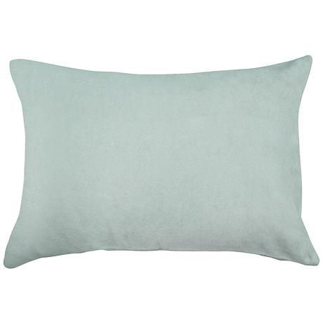 "Spa Blue Bamboo Velvet 14""x20"" Lumbar Throw Pillow"