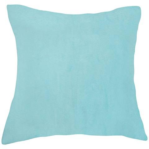 "Aqua Blue Bamboo Velvet 18"" Square Throw Pillow"