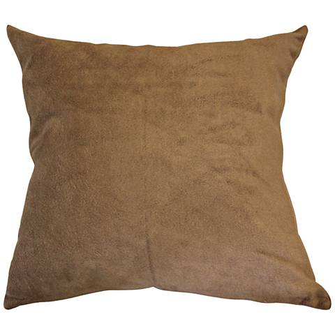 "Lichen Brown Bamboo Velvet 18"" Square Throw Pillow"