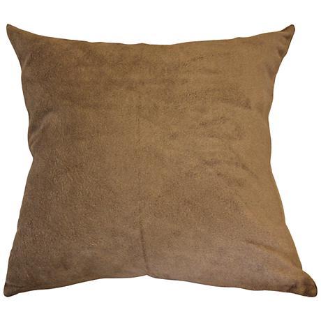"Lichen Brown Bamboo Velvet 18"" Square Throw Pillow"