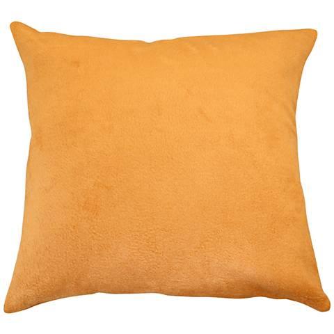 """Pumpkin Orange Bamboo Velvet 18"""" Square Throw Pillow"""