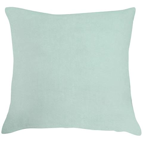 """Spa Blue Bamboo Velvet 18"""" Square Throw Pillow"""