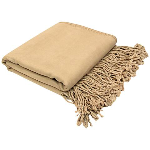 Natural Nude Bamboo Velvet Throw Blanket