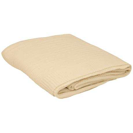 Creme Angora Blend Knitted Cable Throw Blanket