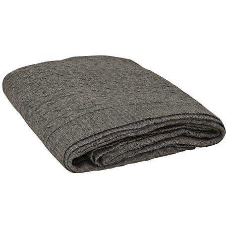Heather Gray Angora Blend Knitted Cable Throw Blanket