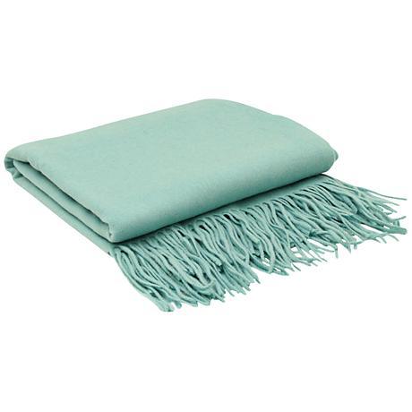Aqua Blue Signature Cashmere Blend Throw Blanket