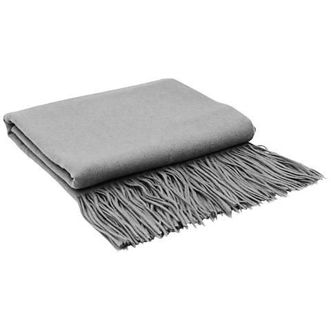 Light Gray Signature Cashmere Blend Throw Blanket