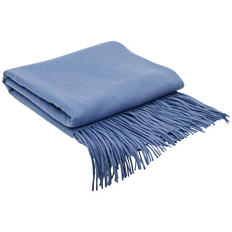 Periwinkle Blue Signature Cashmere Blend Throw Blanket