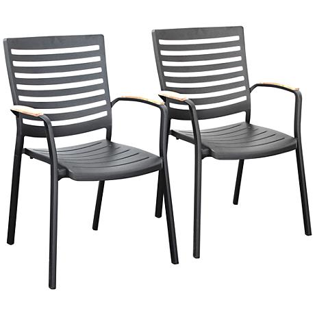 Vestavia Matte Black Slat Outdoor Dining Chair Set of 2