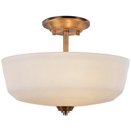 "Artcraft Hudson 14 1/2""W Vintage Brass 3-Light Ceiling Light"