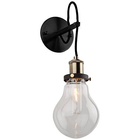 "Artcraft Edison 15 3/4""H Vintage Brass and Black Wall Sconce"