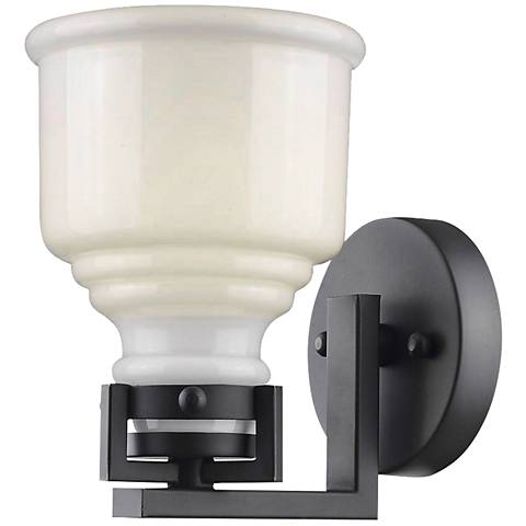 "Artcraft Franklin 9"" High Black Wall Sconce"