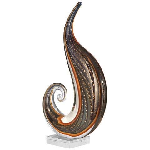 """Dale Tiffany Scroll 15""""H Multi-Color Art Glass Sculpture"""